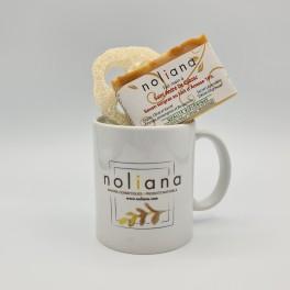 "Cadeau ""B"" Noliana – Savon au Lait d'Ânesse, Loofah et Mug feuille jaune"